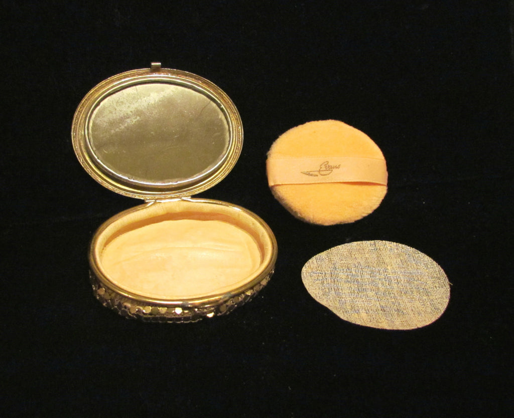 Evans Gold Mesh Compact 1930 S Guilloche Powder Compact