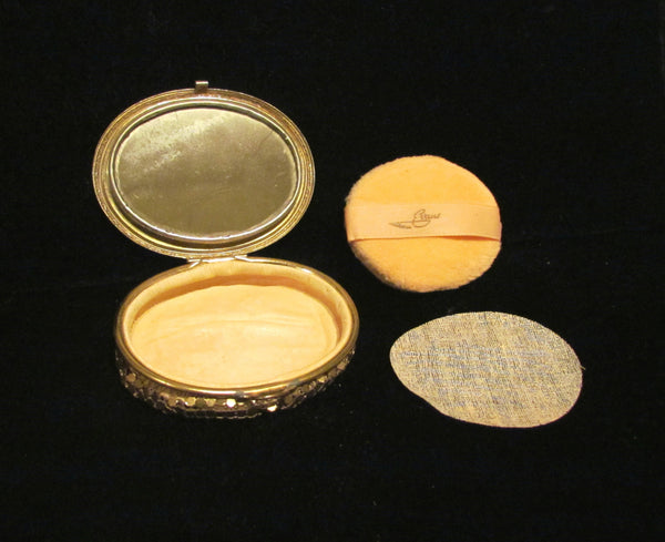 Evans Gold Mesh Compact 1930's Guilloche Powder Compact Art Deco