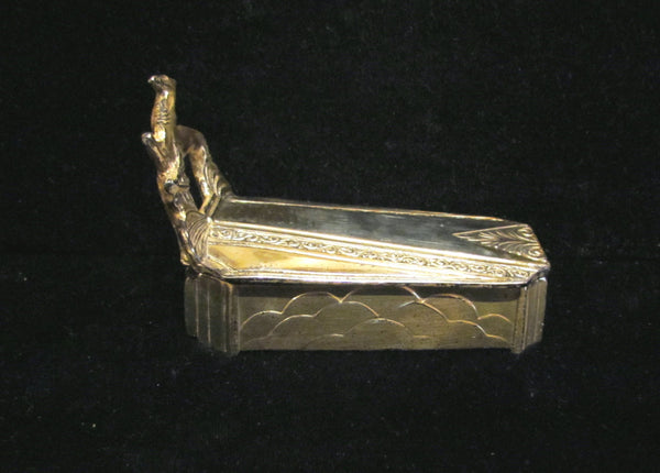 1920s Art Deco Silver Plated Powder Box Coffin Gazelle Weidlich Brothers Beauty Box Rare