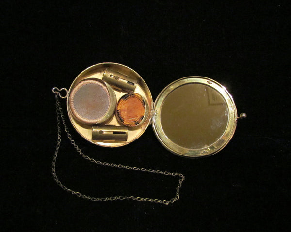 1920's D.F. Briggs Gold Filled & Guilloche Powder Compact Wristlet Purse Art Deco Rare