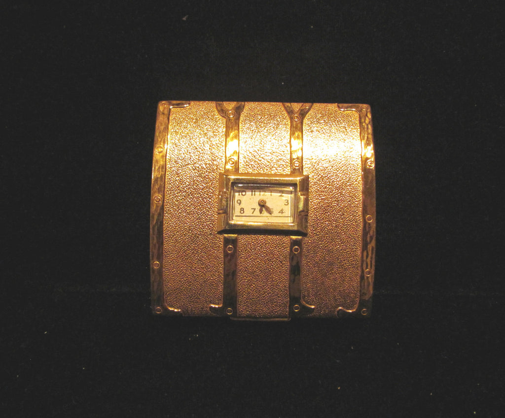 1940's Evans Clock Compact Steamer Trunk Powder Compact Watch Rare Unused Working
