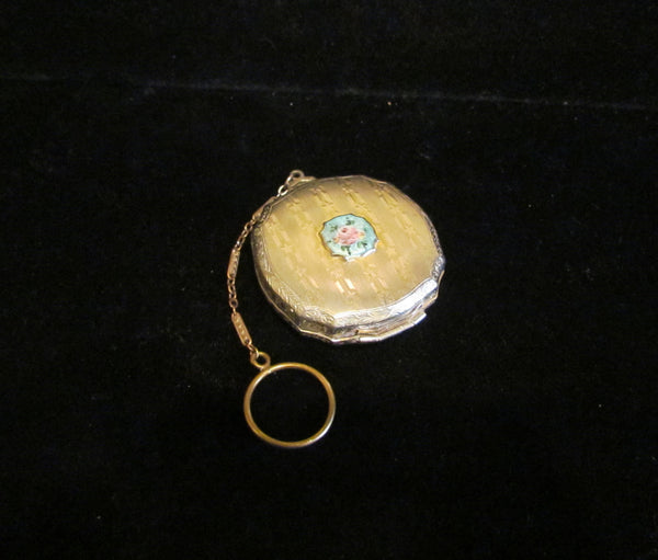 1920s Compact Purse Vintage Compact Dance Purse Guilloche Powder Rouge Finger Ring