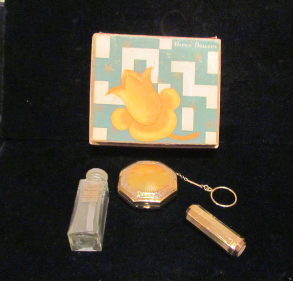 1920's Richard Hudnut Three Flowers Gift Box Art Deco Perfume Compact Purse & Lipstick Rare Gift Set