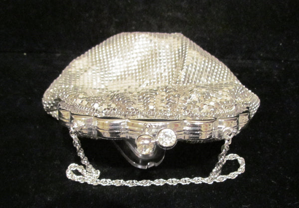 Duramesh Silver Mesh Rhinestone Purse 1940's Glomesh Purse Unused Wedding Formal Evening Bag