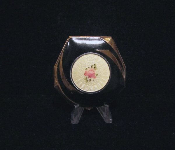 Elgin American Guilloche Enamel Compact 1930s Art Deco Powder Rouge Mirror Compact