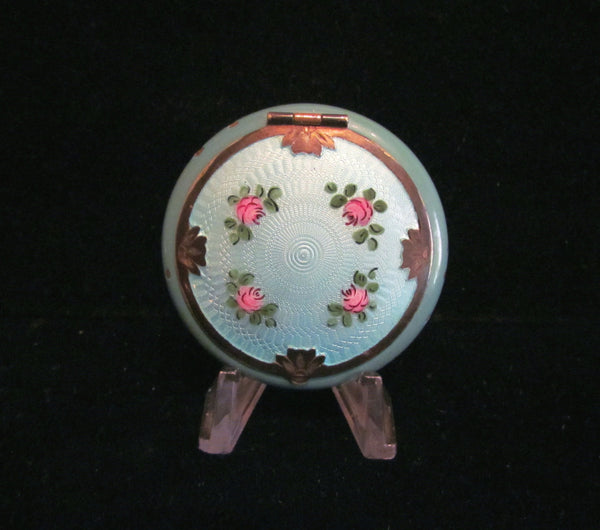 1920s Guilloche Enamel D. F. Briggs Powder Rouge And Mirror Compact