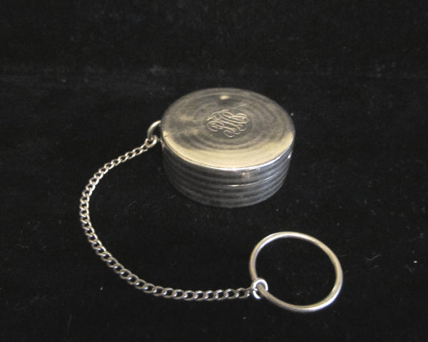 Sterling Silver Snuff Box Finger Ring Compact Antique Dance Purse 1800's Pill Holder