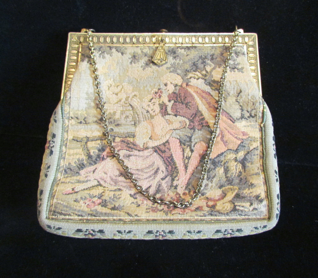 Victorian Petit Point Purse Antique 1900s Tapestry Purse