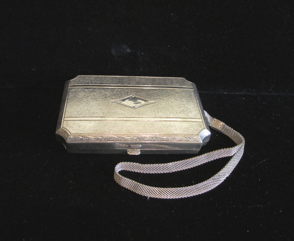 Dermay Silver Plated Compact Purse 1910's Wristlet Purse