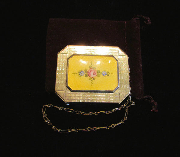 Guilloche Enamel Compact Purse 1920's Art Deco Wristlet Dance Purse
