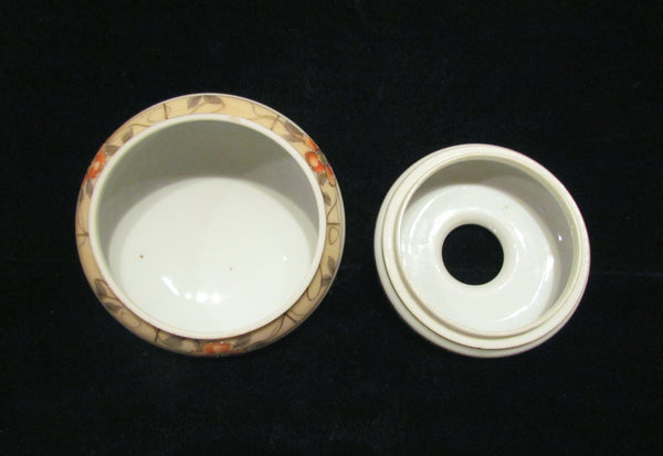 1920s Nippon Powder Jar And Hair Receiver Set Gilded Hand Painted Vanity Set Powder Box