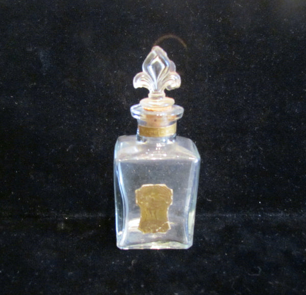1900s Narcissus Perfume Bottle Fleur De Lis Hand Blown Glass Antique Rare