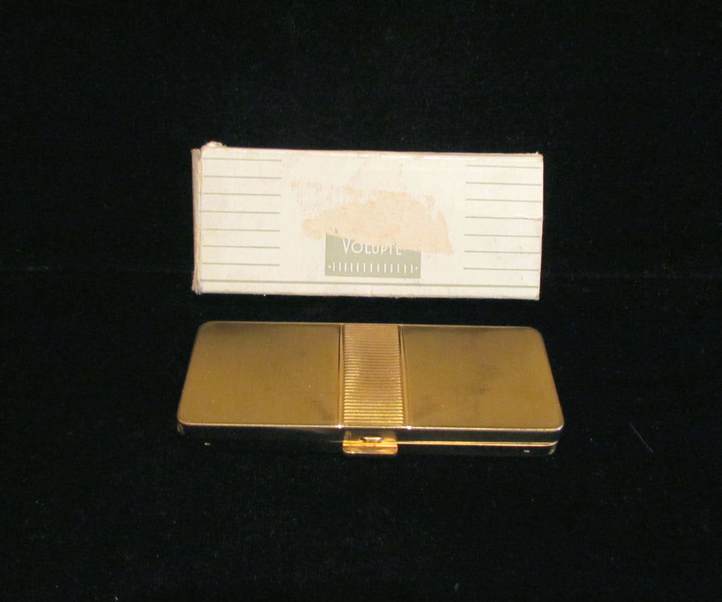 Art Deco Volupte Compact Purse Gold Powder Rouge Lipstick Boxed Unused Excellent Condition