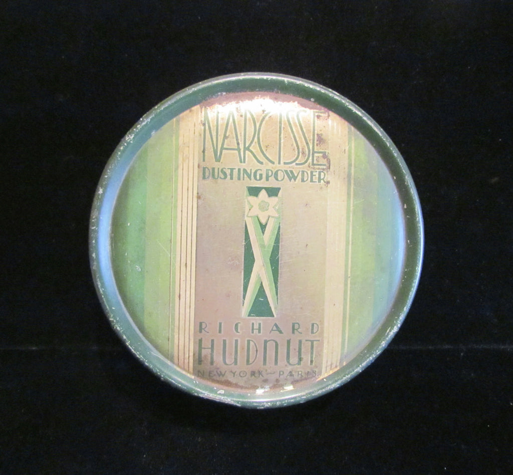 Vintage Powder Tin Richard Hudnut Tin Narcisse Dusting Powder Tin 1930s Art Nouveau Tin RARE