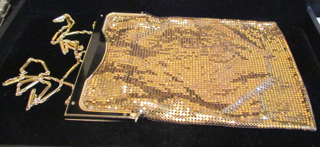Whiting & Davis Art Deco Gold Mesh & Black Enamel Purse 1940's Flapper Evening Handbag RARE