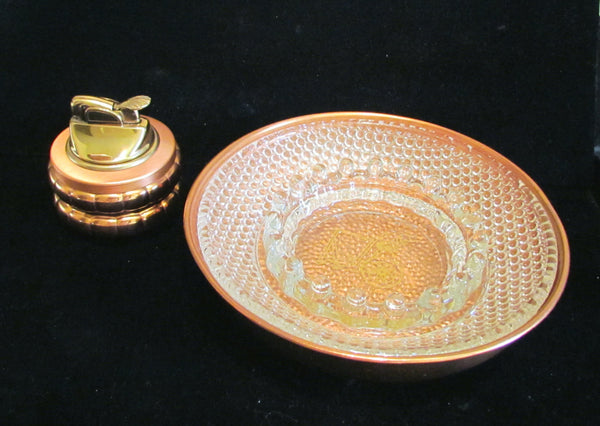 1950's Evans Copper Table Lighter &  Ashtray Set Tabletop Working Lighter