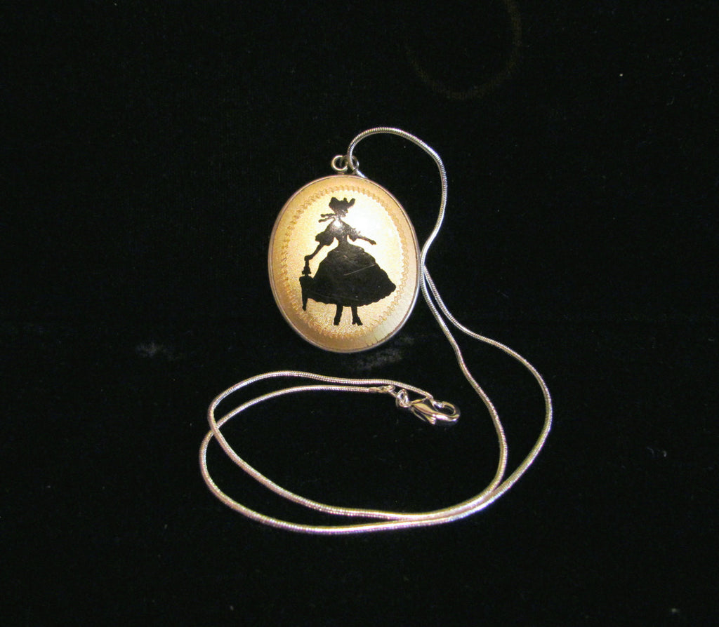 Victorian Guilloche Enamel Pendant Powder Compact Necklace