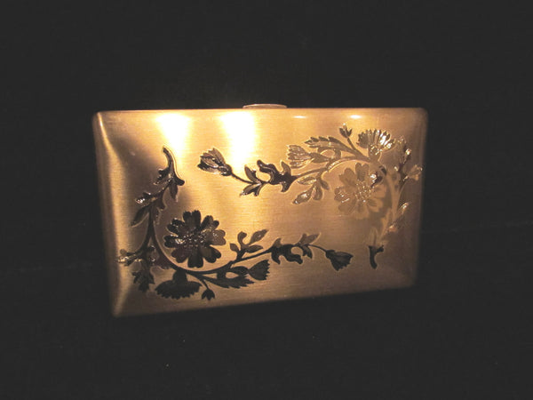 1950's Elgin American Compact Purse Gold Floral Etched In Original Box Excellent Unused Condition
