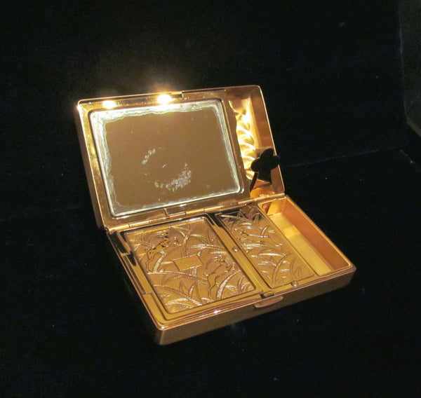 1950 S Elgin American Compact Purse Gold Floral Etched In