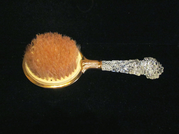 1930s Guilloche Brush Glass Handle Vintage Natural Bristle Hair Brush