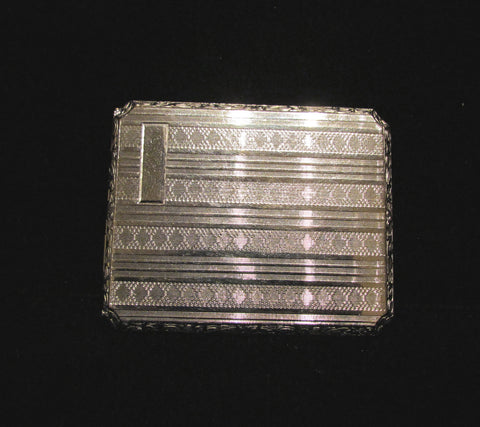 1910 EAM Cigarette Case Vintage Silver Plate Business Card Case Edwardian Antique Case