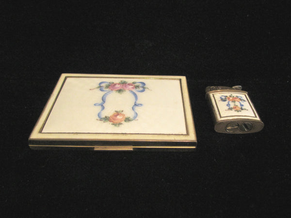 Vintage Evans Cigarette Case And Lighter 1950's Guilloche Floral Design Working Lighter