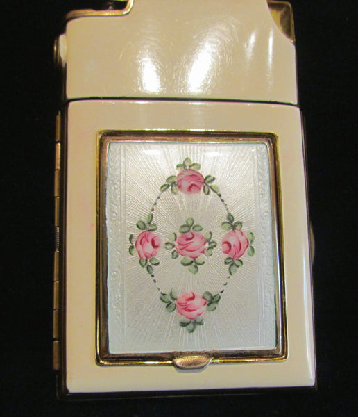 Guilloche Enamel Marathon Cigarette Case Lighter Compact Working Lighter Excellent Condition