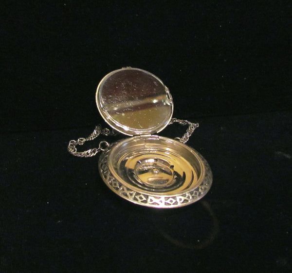 Guilloche Silver Plated Compact Wristlet Purse Vintage Powder Rouge 1930's