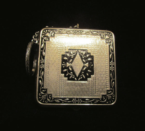 Art Deco Compact Purse 1920's Enamel Powder And Rouge Compact With Chatelaine Finger Ring