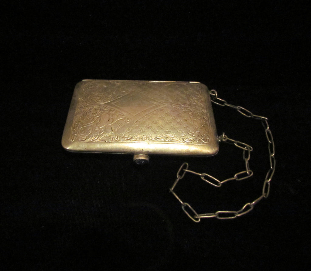 Victorian German Silver Coin & Compact Purse Sapphire 1900's Wristlet