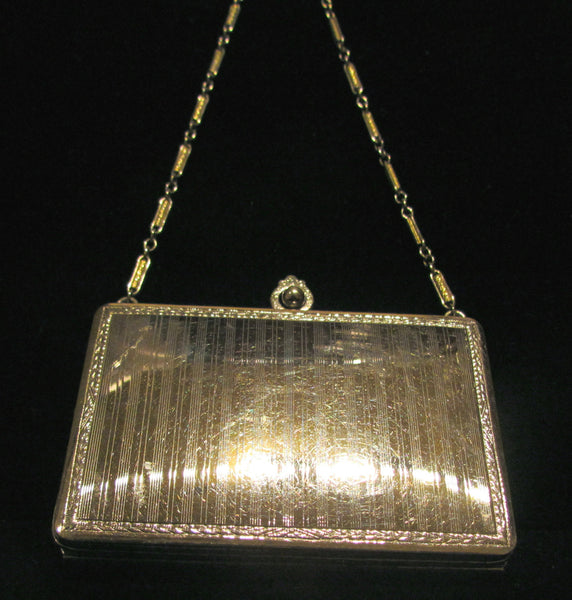 Finberg Mfg Co Compact Purse 1910s Guilloche Silver And Gold Filled Wristlet Purse FMC