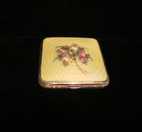 Bliss Brothers Guilloche 24kt Gold Plated Powder Rouge Compact 1930's