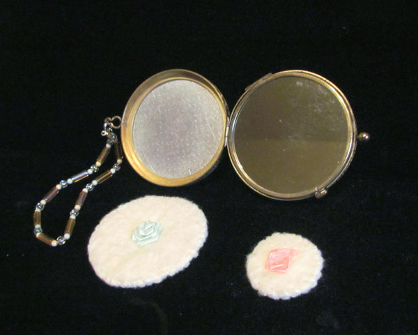 24kt Gold Overlay Guilloche Compact Purse OOAK Beaded Wristlet Chain