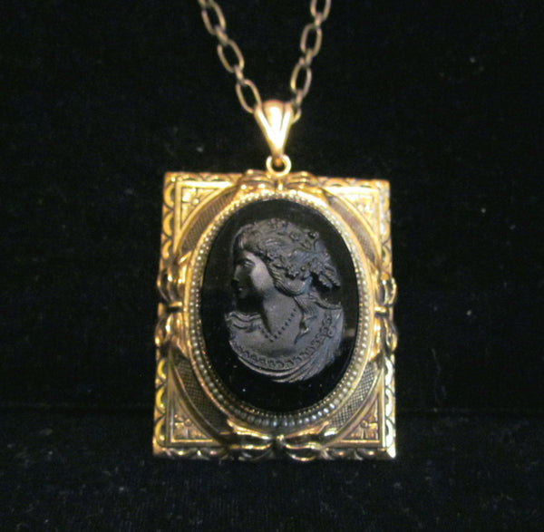 Black Cameo Locket Necklace Seed Pearls Gold Victorian Pendant 30 Inch Adjustable Chain