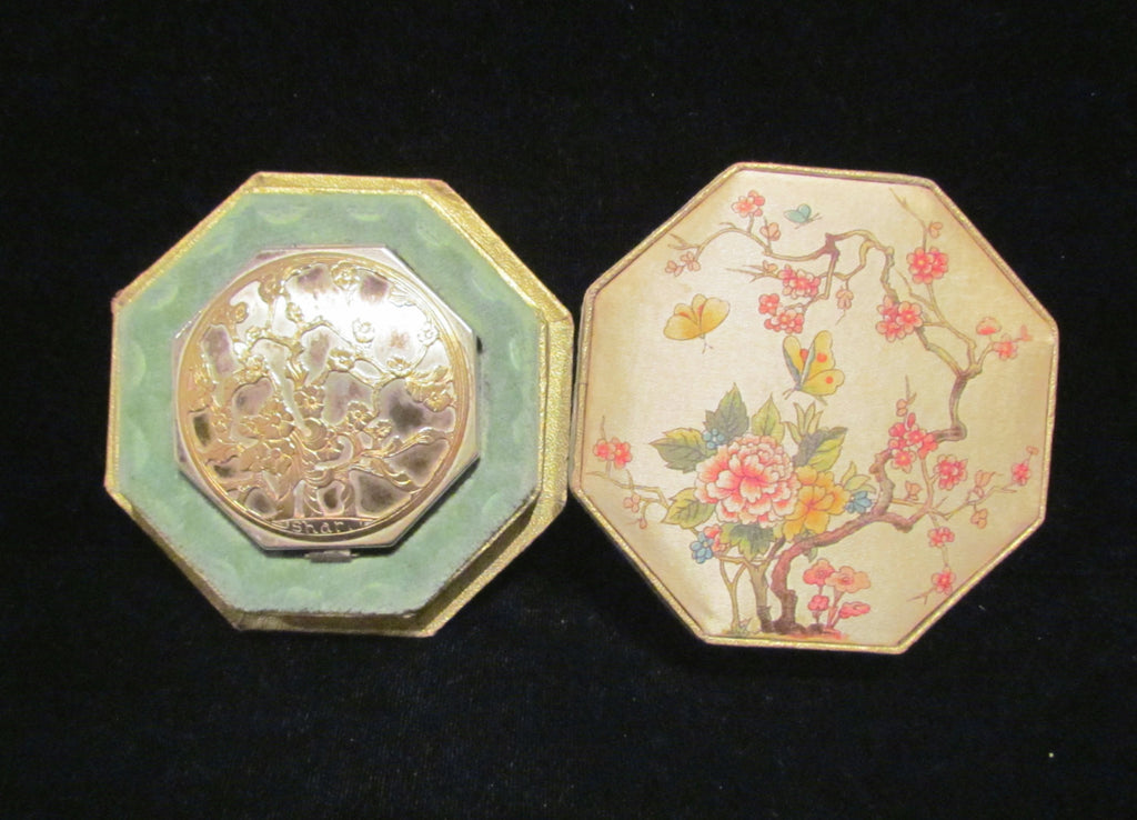 Langlois Shari Compact Silver And Gold In Original Silk Box Extremely Rare