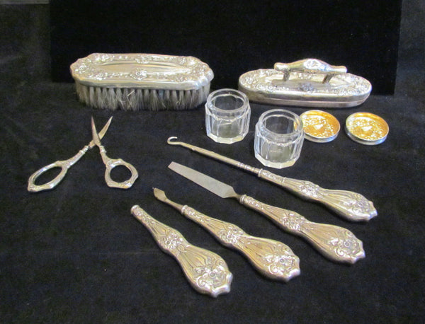 Sterling Silver Victorian Dresser Vanity 9 Piece Set 1800s German Grooming Set Nail Care Brush Jars Scissors
