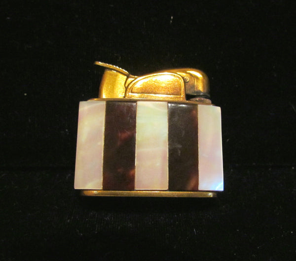 1950s Evans Mother Of Pearl & Tortoise Shell Lighter Pocket Purse Working Lighter Boxed