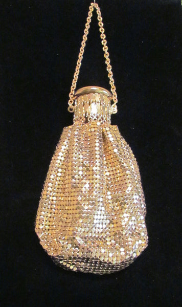 Vintage Gold Accordion Purse Whiting & Davis Beggars Bag Gate Top Purse 1920's Mint & Unused