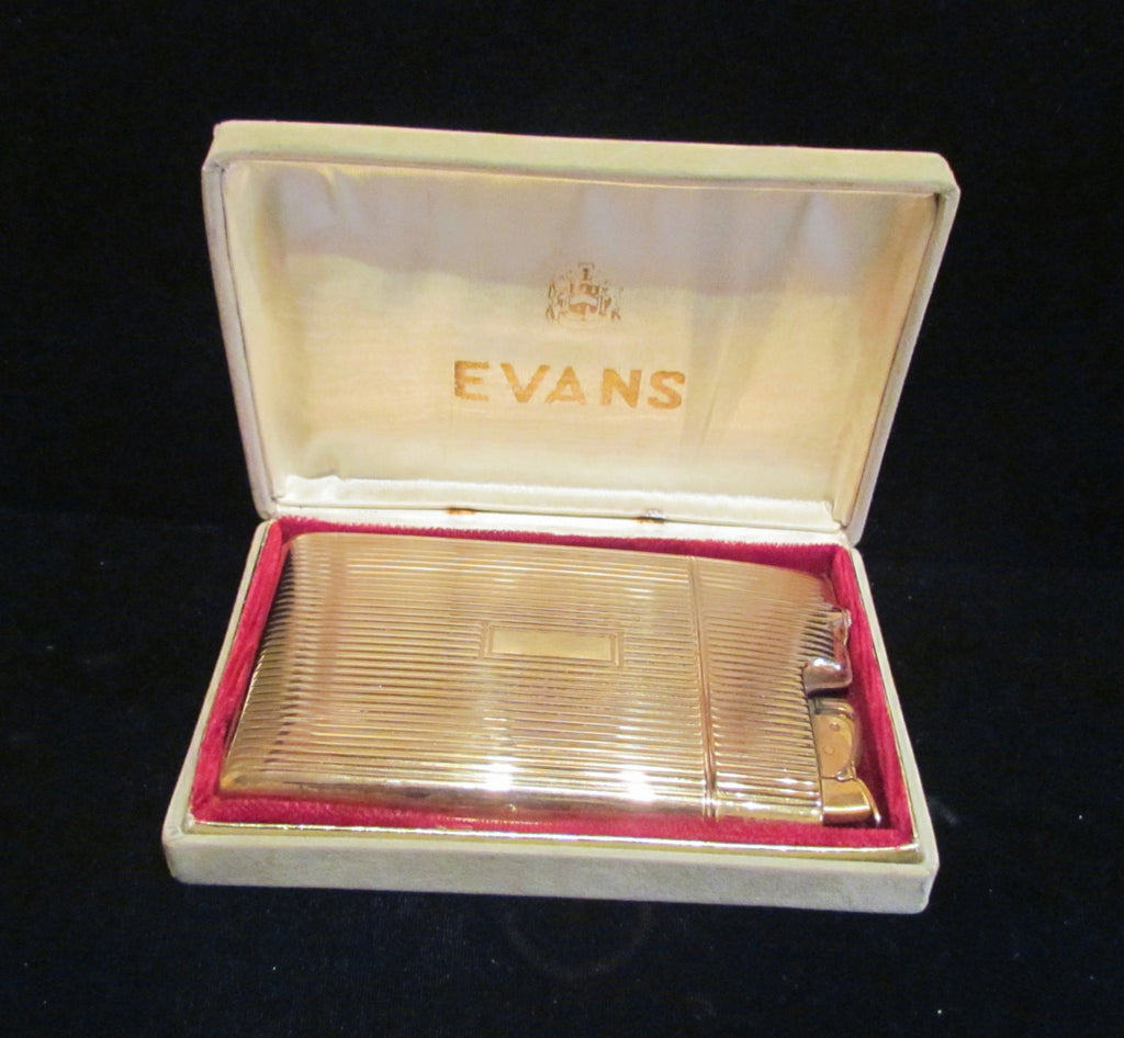 1950s Evans Gold Cigarette Case Lighter In Original Box Working Condition
