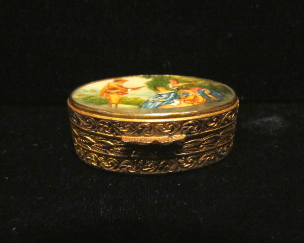 Antique Italian Snuff Box Pill Box Gold Hand Painted Portrait Compact Box 1800's Courting Scene EXTREMELY RARE