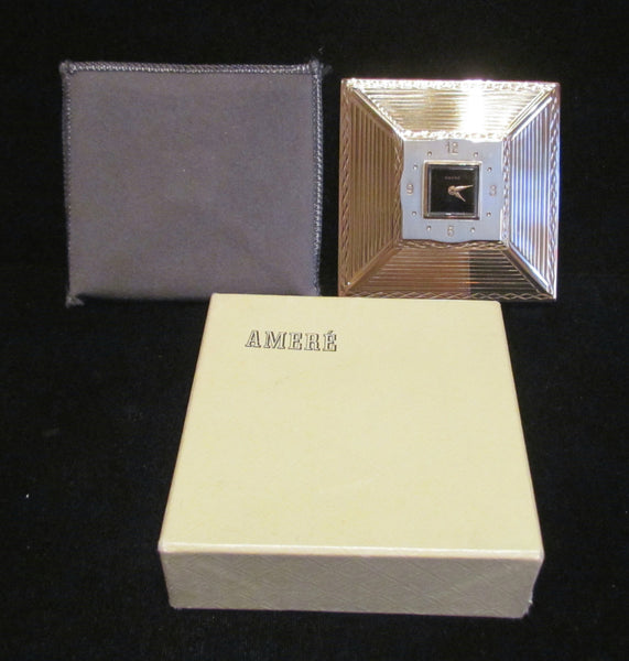 Art Deco Clock Powder Compact Amere Swiss Clock Watch Rare Working Unused In Original Box
