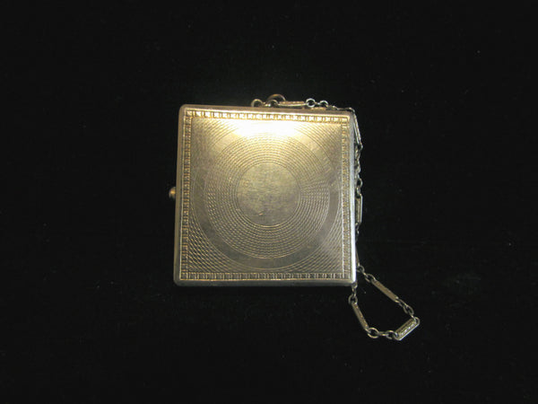 Antique Guilloche Compact Purse Powder Mirror Compact Dance Purse Wristlet Antique Victorian RARE
