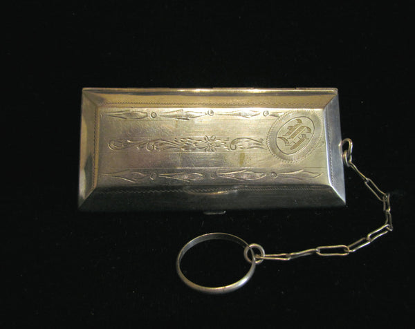 Victorian Silver Plated Coin Change Purse 1800's Compact Finger Ring Rare Antique