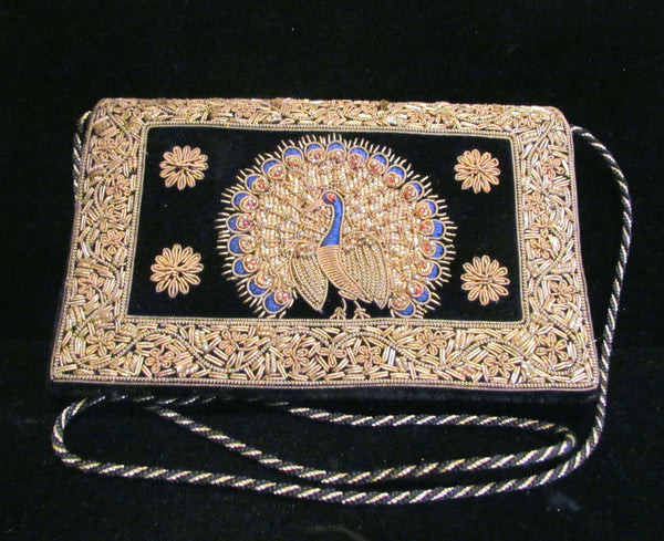 1940's Black Velvet Clutch Purse Art Deco Hand Embroidered Peacock Handbag Evening Bag