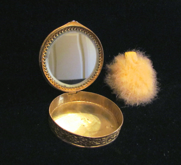 Rare 1800's French Portrait Gold Ormolu Filigree & Enamel Pearl Powder Mirror Compact