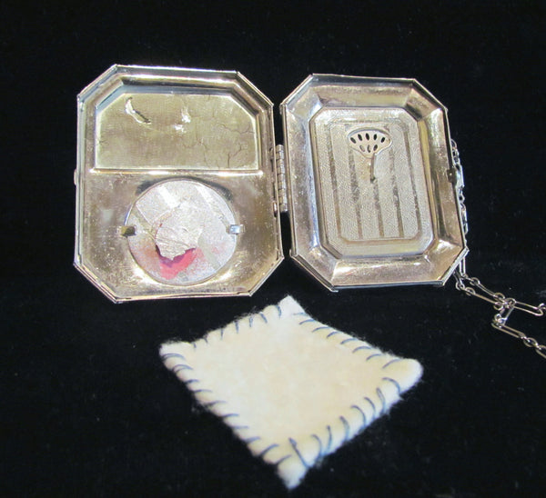 Silver And Guilloche Compact Purse 1920's Guilloche Dance Wristlet Compact