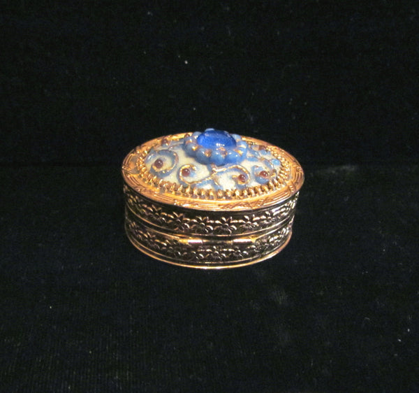 Jeweled Powder Box Compact Or Pill Box Blue & Red Enamel