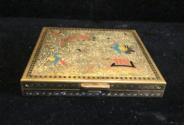 Vintage Volupte Compact Enamel Compact Asian Animal Powder Compact Mirror Compact EXCELLENT CONDITION