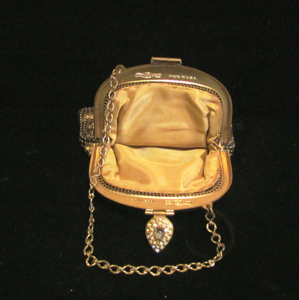 Rhinestone Whiting & Davis Purse 1930s Gold Mesh Art Deco Wedding Bridal Bag
