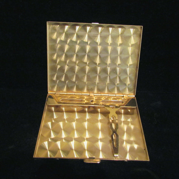 Ladies Cigarette Case 1950s Business Credit Card Holder Bronze Gold Tone Case Excellent Condition